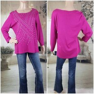 Karen Scott Long Sleeve Embellished Knit top